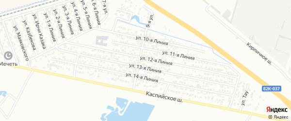 Улица Линия 11 на карте Кирпичного микрорайона с номерами домов
