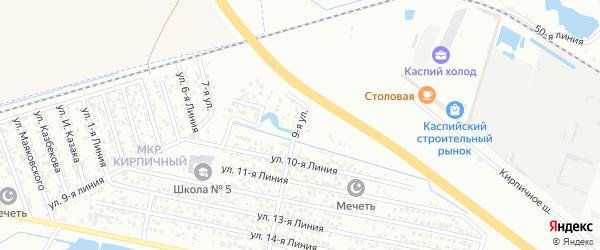 Улица Линия 14 на карте Кирпичного микрорайона с номерами домов