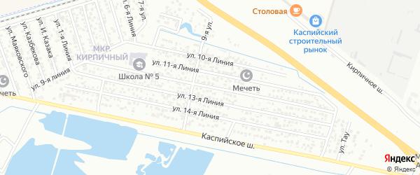 Улица Заря СНТ Линия 12 на карте Каспийска с номерами домов