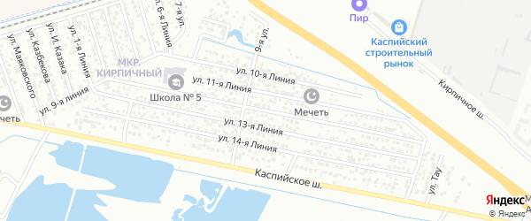 Улица Строитель СНТ Линия 12 на карте Каспийска с номерами домов