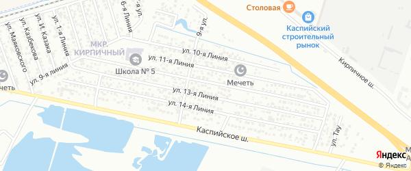 Улица Линия 15 на карте Кирпичного микрорайона с номерами домов