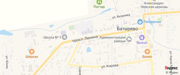 Проспект Ленина на карте села Батырево с номерами домов