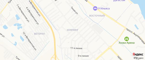 Карта микрорайона Кемпинга города Каспийска в Дагестане с улицами и номерами домов