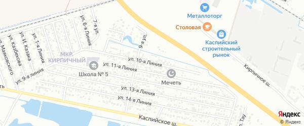 10-я линия на карте Кирпичного микрорайона с номерами домов