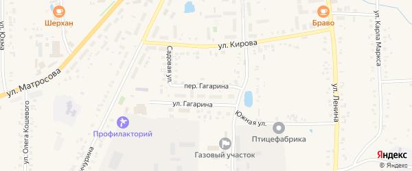 Переулок Гагарина на карте села Батырево с номерами домов