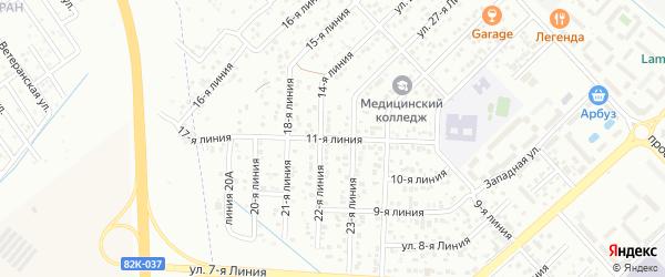 11-я линия на карте микрорайона Кемпинга с номерами домов