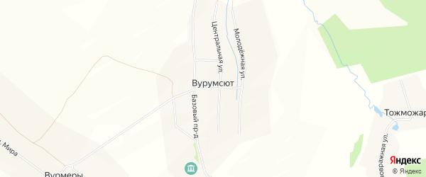 Карта деревни Вурумсюта в Чувашии с улицами и номерами домов