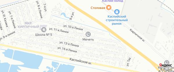 11-я линия на карте Кирпичного микрорайона с номерами домов