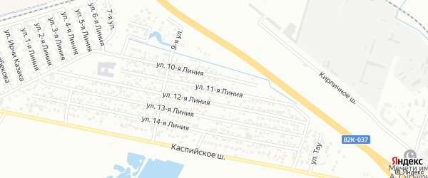 Улица Строитель СНТ Линия 11 на карте Каспийска с номерами домов