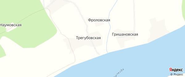 Карта Трегубовской деревни в Архангельской области с улицами и номерами домов