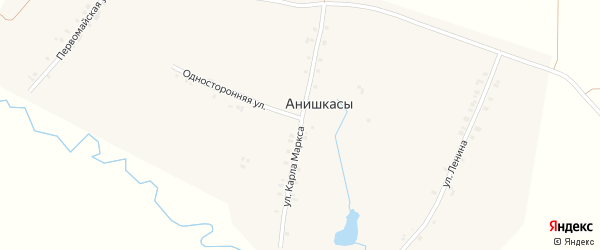 Улица К.Маркса на карте деревни Анишкас с номерами домов