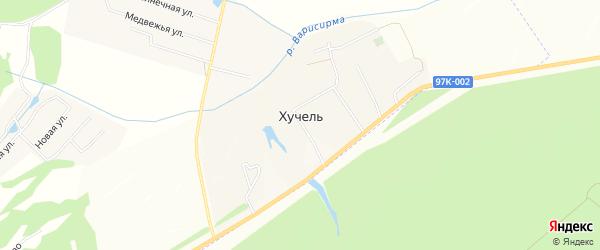 Сад Строитель-85 на карте деревни Хучели с номерами домов