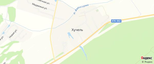 Сад Малиновка на карте деревни Хучели с номерами домов