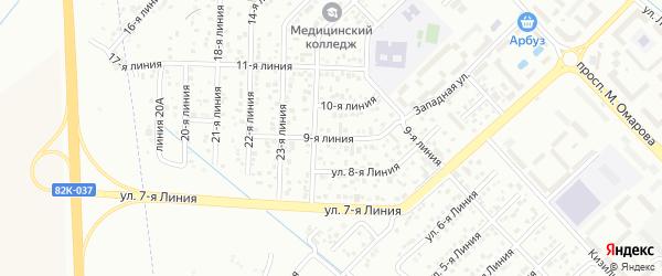 9-я линия на карте гаражно-строительного кооператива Космоса ПГСК с номерами домов