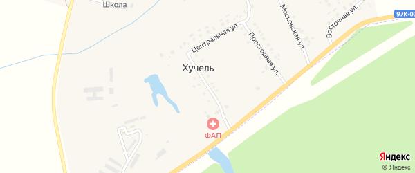 Зеленая улица на карте деревни Хучели с номерами домов