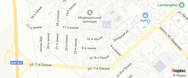 10-я линия на карте Микрорайона Камнеобрабатывающего завода с номерами домов