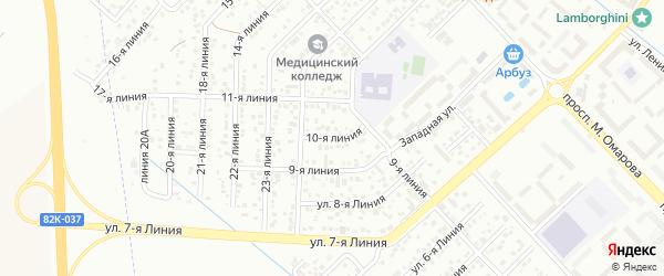 10-я линия на карте Зверовода СНТ с номерами домов