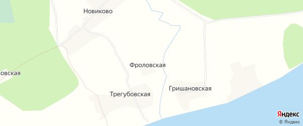 Карта Фроловской деревни в Архангельской области с улицами и номерами домов