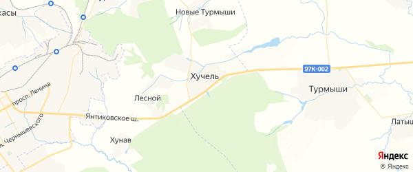 Карта Хучельского сельского поселения республики Чувашия с районами, улицами и номерами домов