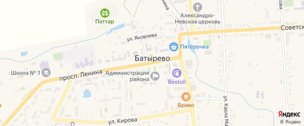 Улица П.Яковлева на карте села Батырево с номерами домов