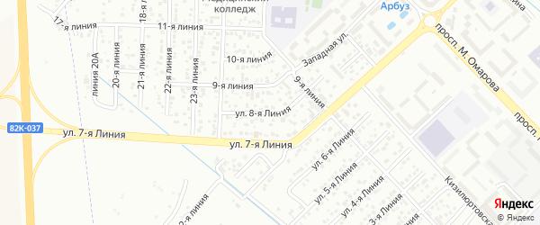 8-я линия на карте Педагога СНТ с номерами домов