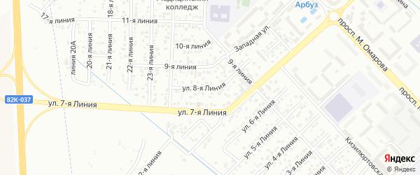 8-я линия на карте Строителя СНТ с номерами домов