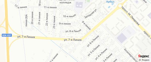 Улица Колос СНТ Линия 8 на карте Каспийска с номерами домов
