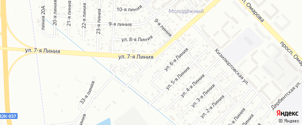 7-я линия на карте Приморского СНТ с номерами домов