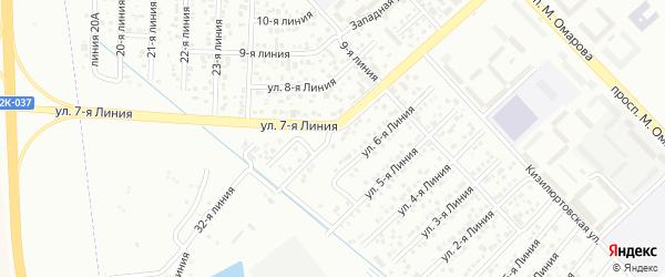 Улица Колос СНТ Линия 7 на карте Каспийска с номерами домов