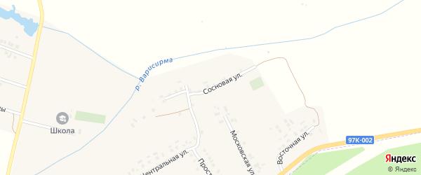 Сосновая улица на карте деревни Хучели с номерами домов