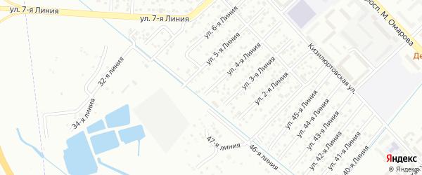 Улица Рассвет СНТ Линия 4 на карте Каспийска с номерами домов