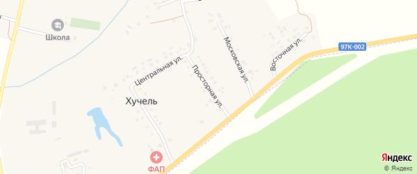 Просторная улица на карте деревни Хучели с номерами домов