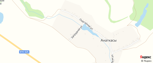 Запрудная улица на карте деревни Анаткас с номерами домов