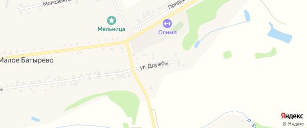 Улица Дружбы на карте деревни Малое Батырево с номерами домов