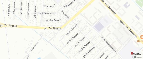 6-я линия на карте гаражно-строительного кооператива Сигнала ПГСК с номерами домов