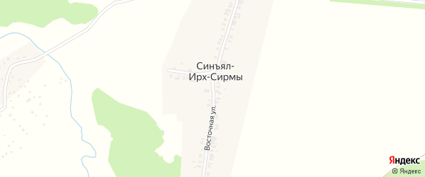 Восточная улица на карте деревни Синъял-Ирх-Сирмы с номерами домов