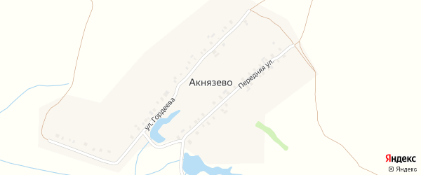 Передняя улица на карте деревни Акнязево с номерами домов