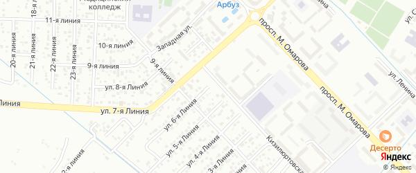 Улица Заря СНТ Линия 6 на карте Каспийска с номерами домов