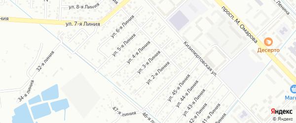 Улица Строитель СНТ Линия 3 на карте Каспийска с номерами домов