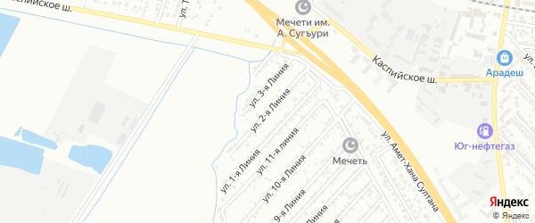 Улица Колос СНТ Линия 2 на карте Каспийска с номерами домов