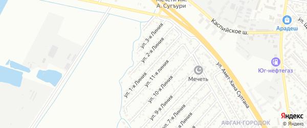Улица Заря СНТ Линия 1 на карте Каспийска с номерами домов