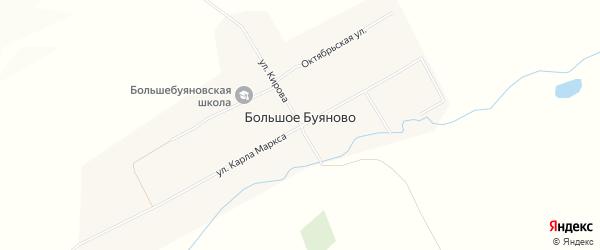 Карта деревни Большое Буяново в Чувашии с улицами и номерами домов