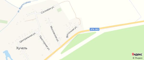 Восточная улица на карте деревни Хучели с номерами домов