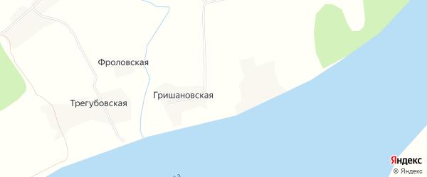 Карта Гришановской деревни в Архангельской области с улицами и номерами домов