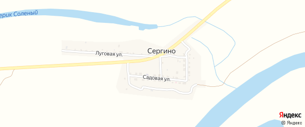 Звездный переулок на карте села Сергино с номерами домов