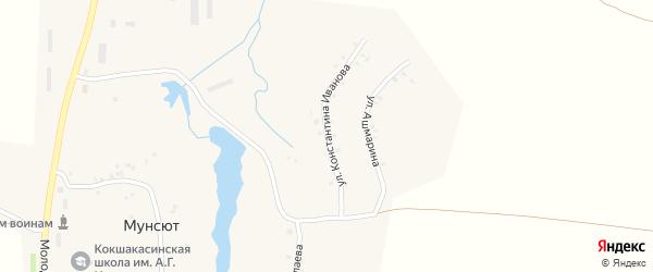 Улица К.Иванова на карте деревни Мунсюта с номерами домов