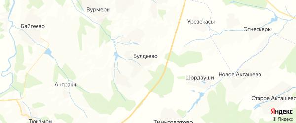 Карта Булдеевского сельского поселения республики Чувашия с районами, улицами и номерами домов