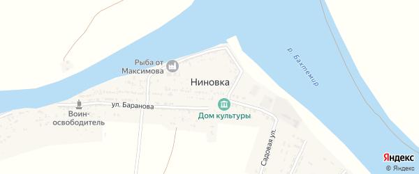 Пионерская улица на карте села Ниновки с номерами домов