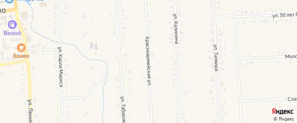 Красноармейская улица на карте села Батырево с номерами домов