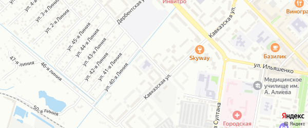 Кизилюртовская улица на карте Каспийска с номерами домов